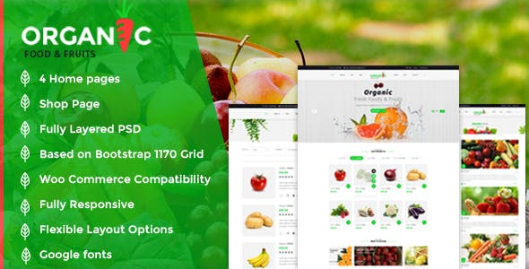 Organic Food And Fruits Template Retail