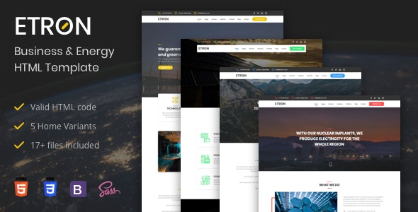 Etron - Business & Energy HTML Template - Business Corporate