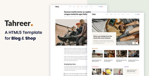 Tahreer – Magazine Blog & Shop HTML Template - Creative Site Templates