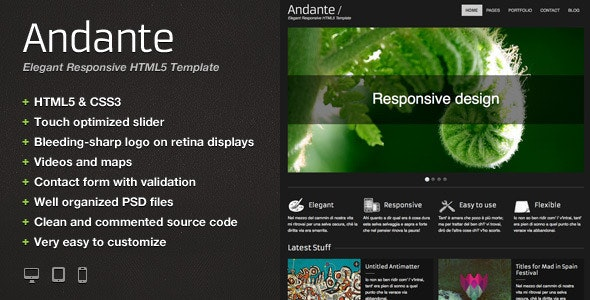 Andante – Elegant Responsive HTML5 Template - Creative Site Templates