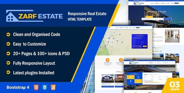 Zarf Real Estate Bootstrap 4 HTML Template - Business Corporate