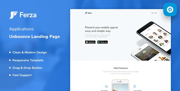 Ferza - Applications Unbounce Landing Page Template - Unbounce Landing Pages Marketing