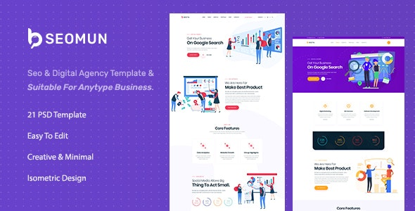 Seomun | SEO And Digital Marketing Agency PSD Template - Marketing Corporate