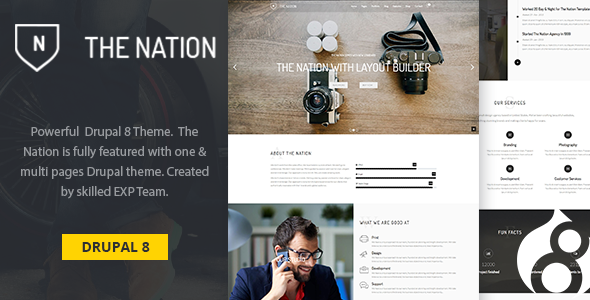 Nation -  One & multi pages Drupal 8 theme - Business Corporate