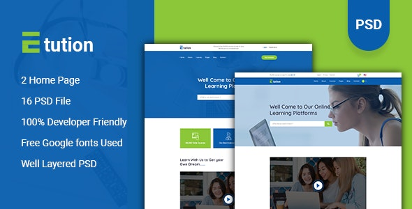 Etution - LMS & Online Learning PSD Template - Corporate PSD Templates