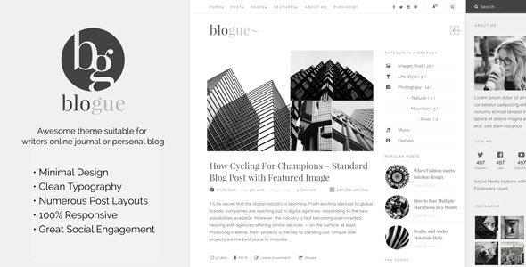 Blogue - Personal Blog WordPress Template - Blog / Magazine WordPress