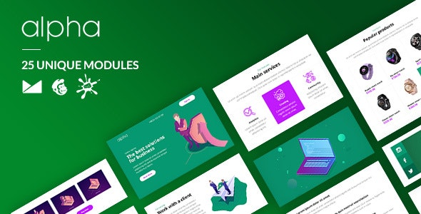 Alpha Email-Template + Online Builder - Newsletters Email Templates