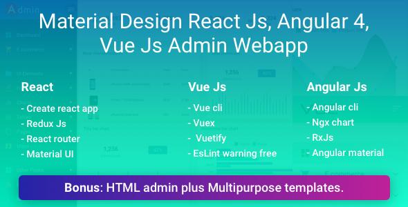 Material Design React  Vue  Angular Js Admin Web App with HTML Admin and Multipurpose Template - Admin Templates Site Templates