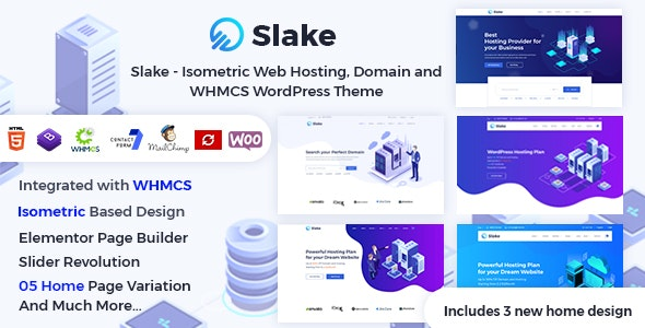 Slake - Isometric Web Hosting, Domain and WHMCS WordPress Theme - Hosting Technology
