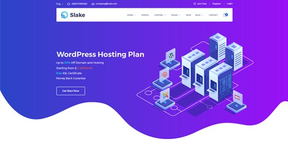 Slake - Isometric Web Hosting, Domain and WHMCS WordPress Theme