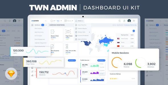 TWN Admin Dashboard UI Kit - Sketch UI Templates
