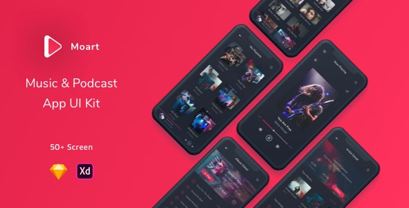 Moart - Music and Podcast App UI Kit - Sketch Templates