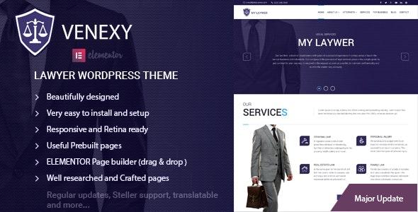 Lawyer Elementor WordPress Theme - Venexy - Business Corporate
