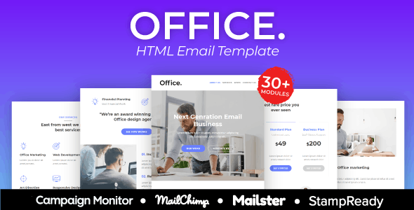 Office Agency Responsive Email Template 30+ Modules - StampReady + Mailster & Mailchimp Editor - Newsletters Email Templates