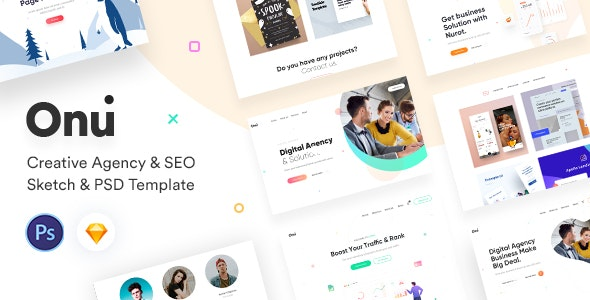 Onu - Creative Agency Sketch & PSD Template - Sketch Templates