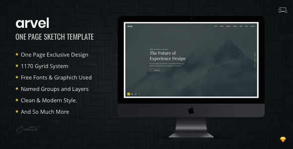 ARVEL | Creative One Page Sketch Template - Sketch UI Templates