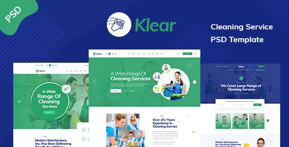 Klear - Cleaning Service Company PSD Template - Business Corporate