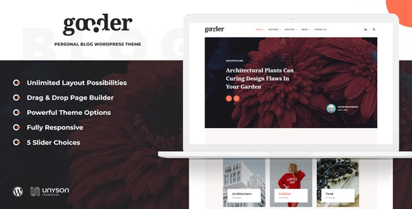 Gooder - Modern Blog WordPress Theme - Personal Blog / Magazine