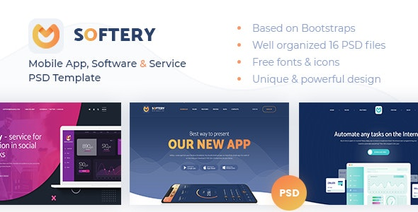 Softery -  Mobile App, Software & Service PSD Template - Technology Photoshop