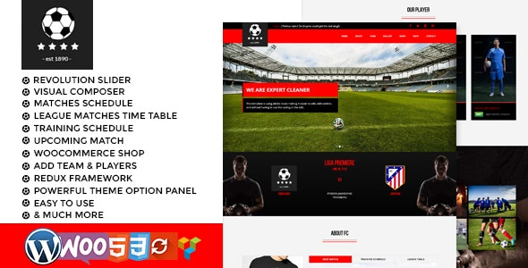 football club soccer WordPress Theme - Entertainment WordPress