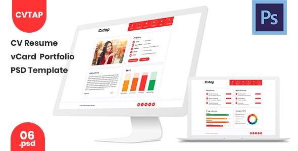 Cvtap - CV Resume Portfolio PSD Template - Personal Photoshop
