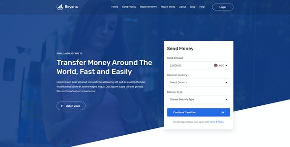 Roysha - Money Transfer and Online Payments PSD and Adobe XD Templates