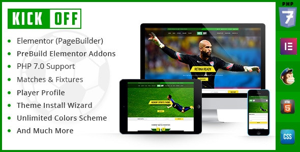 Kickoff Sports Club - WordPress Theme - WordPress