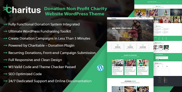 Charitus - Charity WordPress Theme with Donation System - Charity Nonprofit