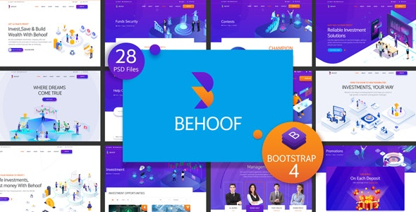 Behoof - Isometric Investment Website PSD Templates - Business Corporate