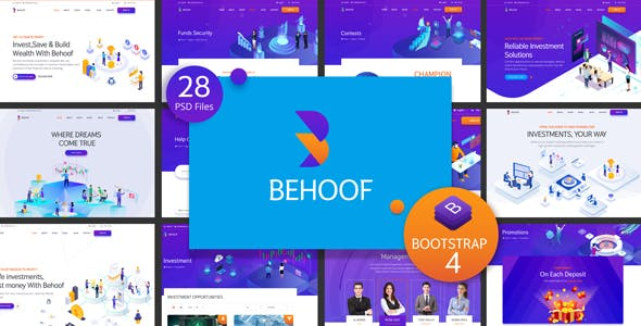 Behoof - Isometric Investment Website PSD Templates
