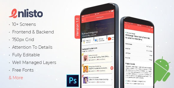 Enlisto - Mobile App PSD Template - Business Corporate