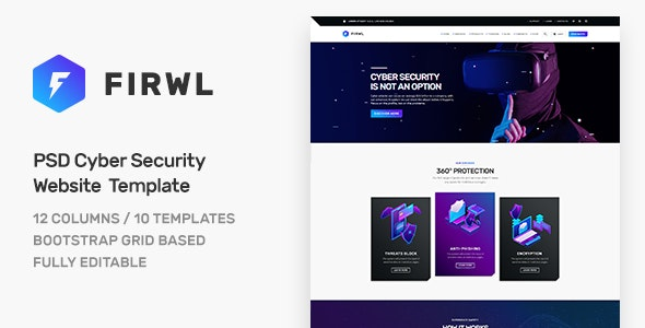 Firwl - Cyber Security PSD Website Template - Software Technology