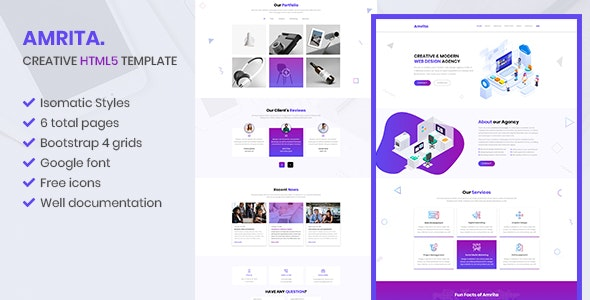 Amrita - Creative Multipurpose  HTML Template - Creative Site Templates