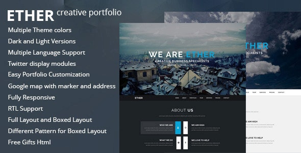 Ether One Page Joomla Template By Nunforest Themeforest
