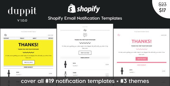 duppit - Notification Email Templates for Shopify Themes