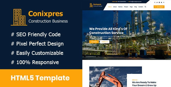 Conixpress - Construction Business HTML5 Template - Corporate Site Templates
