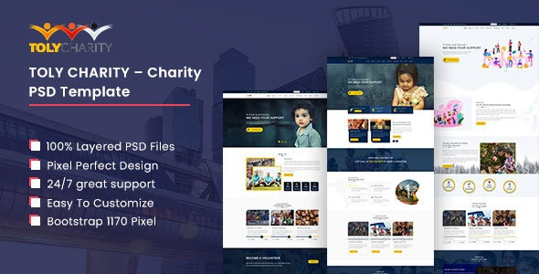 Toly – Charity PSD Template - Charity Nonprofit
