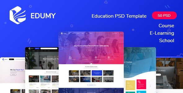 Edumy - LMS Online Education Course & School PSD Template - Corporate PSD Templates