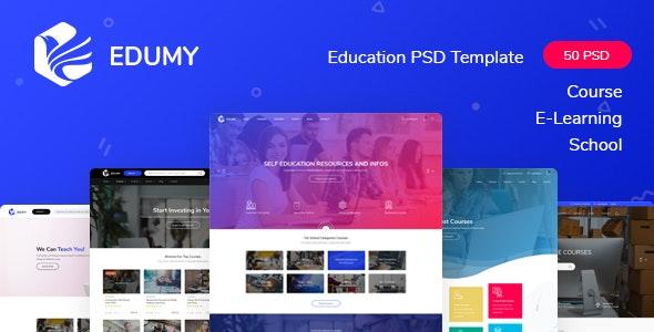 Edumy - LMS Online Education Course & School PSD Template - Corporate Photoshop