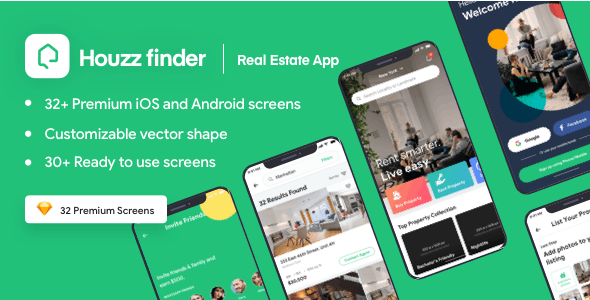 Houzz Finder - A Real Estate iOS Mobile App UI Kit - Sketch UI Templates