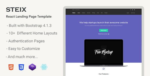 Steix React - Landing Page Template - Landing Pages Marketing
