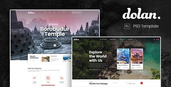 Dolan - Food and Travel Tour PSD Template - Travel Retail