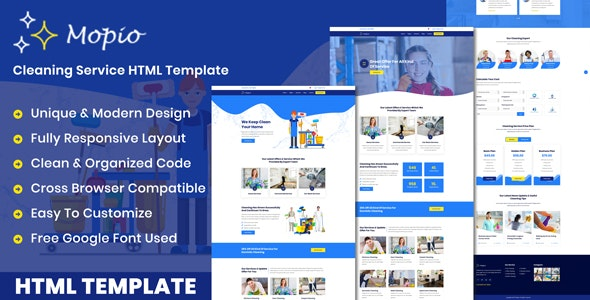 Mopio - On Demand Cleaning Service HTML Template - Business Corporate