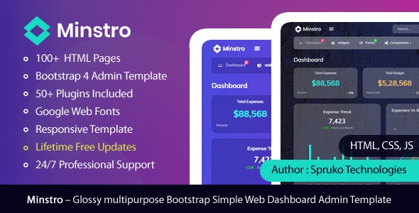 Minstro - Bootstrap Multipurpose Glossy Admin Dashboard Template by
