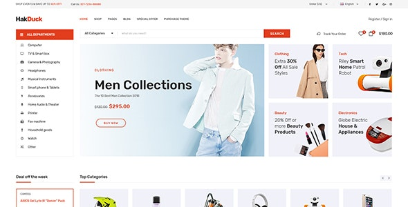 HakDuck - Electronics Bootstrap 4 eCommerce Template - Retail Site Templates
