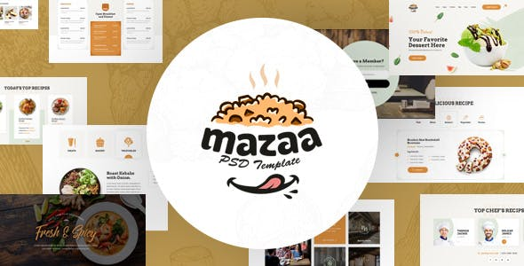 Mazaa - A PSD Template for Cooking Recipes Portal