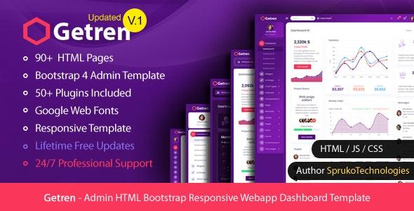 Getren – Admin HTML Bootstrap4 Responsive Webapp Dashboard Template - Admin Templates Site Templates