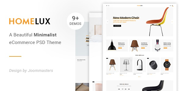 Homelux - Creative eCommerce PSD Template - Photoshop UI Templates