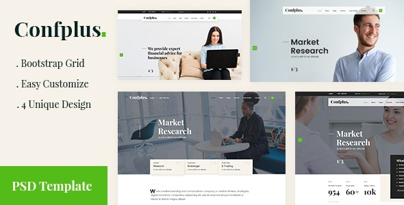 Confplus- Business Consulting and Professional Services PSD Template - Business Corporate
