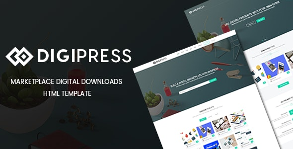DigiPress - Marketplace Digital Downloads HTML Template - Shopping Retail
